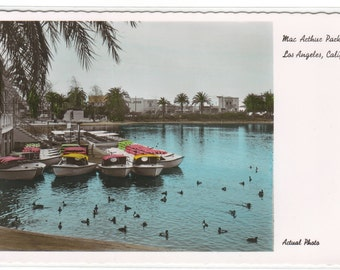 Boat Docks MacArthur Park Los Angeles California Color Tinted RPPC postcard