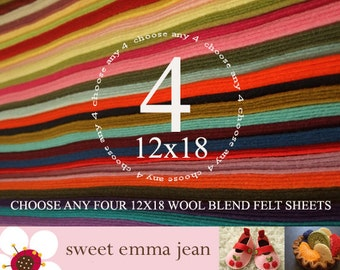 12x18 Wool Felt Sheets - Choose any FOUR merino wool blend felt sheets