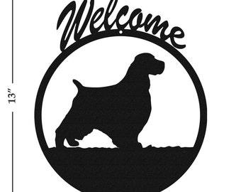 Dog English Springer Spaniel Black Metal Welcome Sign