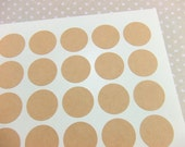 63 Blank Plain Kraft Brown Labels - 1 Inch Round Circle Stickers