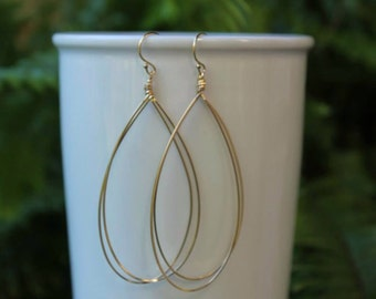Gold Filled Hoop Earrings, Teardrop Earrings, Gold Hoops, You Choose Size, Gold or Silver, Unique Hoops, Lightweight Hoops, Free Shipping