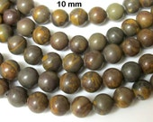 Earthy olive green brown tones Jasper gemstone beads 10 mm - 10 beads - GM252