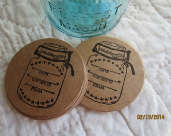Mason Jar Stickers-Canning Jar Labels- Circle Kraft Colored Stickers-Homestead Canning Stickers-Rustic Wedding Favors