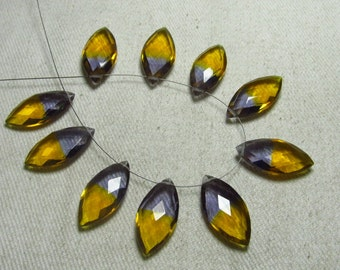 4 Matched Pair - AAAA - High Quality Gorgeous Ametrine Quartz Marquise Briolett Super Sparkle Huge size - 10x20 mm - drilled