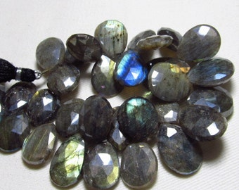 315 Crt - 8 inches - LABRADORITE - Mystick Coatted Faceted Pear Briolettes Super Sparkle Nice Multy Flashy Fire Huge Size - 16 - 20 mm