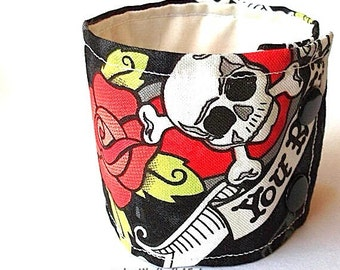 Cuff Bracelet Wide Fabric Band Skull Roses Rock and Roll