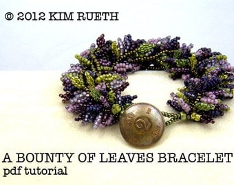 Beading Tutorial for A Bounty Of Leaves Bracelet with seed beads