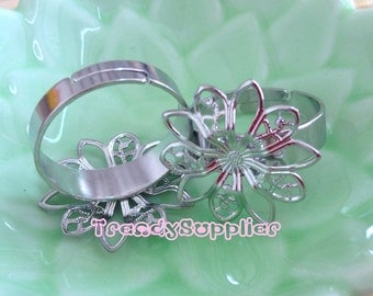 5 pcs Adjustable Silver Plated 20mm Flower Filigree Rings (FR004)