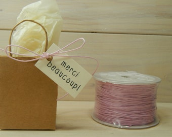 Full Spool Baby Pink 1mm Wax Cotton