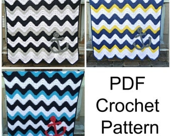 PATTERN Anchor Baby Blanket Crochet Pattern PDF