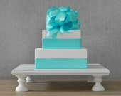 """20"""" Cake Stand Cupcake Stand Square Wedding Rustic White Cake Topper Wedding Decor E. Isabella Designs Featured In Martha Stewart Weddings"""
