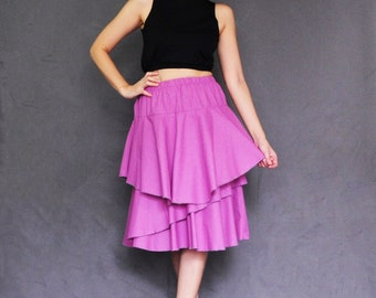 S003- Purple/Violet Knee Length Double Layer Ruffle Cotton Skirt