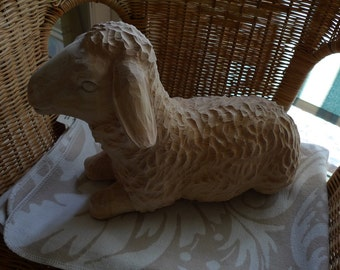 Carved Wooden Timber Lamb Sheep Nativity Crib Christmas Statue Sculpture SALE