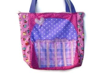 Personalized Cupcake Tote Bag, Back to School Childrens Book Bag, Kids Travel Bag, Sleepover Bag, Car Organizer, Beach Bag