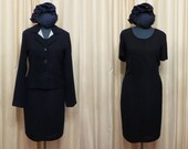 RESERVED FOR CHRISTINA Vintage Made in Australia 80s Dark Navy Dress and Blazer Business Suit Outfit