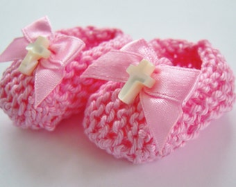 Girl baptism decorations: mini knit pink booties with pink bows and white MOP crosses - 2 inches