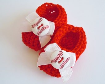 Baseball baby shower decorations: little hand knit red white mini booties - 2 inches with white bows and baseball buttons - Red Sox colors