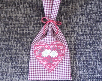 Red Gingham Applique Heart Edelweiss Embroidered Gift Bag