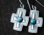 Turquoise Cross Earrings, Sterling silver Earrings, Boho Jewelry, Southwestern