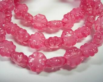 20 beads - Pink Opal Czech Glass Flower Beads 9mm