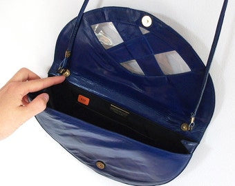 Blue Leather and Clear PVC Vintage Handbag / Purse  / Bag - Round Envelope Clutch