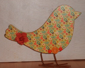 Altered Decoupaged Wooden Bird