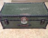 Vintage WWII Era Samson Military Green Footlocker Storage Trunk.