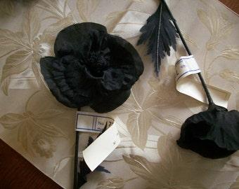 Antique flower in black silk