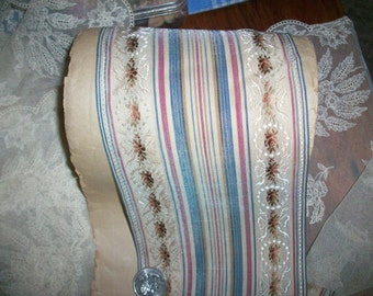 1 yd. RARE French stripe with floral small scale silk antique ribbon