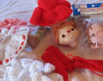 vintage DOLL PARTS & CLOTHING --vintage handmade crochet doll clothing, commercial doll heads