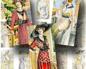 French Fashion Digital Collage Sheet / ON SALE!!! / Digital Download / Vintage Fashion Hat Dress Paris / Domino Size #8 / INSTANT Download