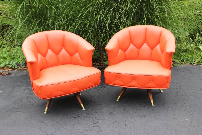 Two Vintage Retro 1950 S Orange Barrel Swivel Chairs
