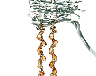 Golden Topaz Dangle Earrings / Gemstone Teardrops / 14k Gold / Champagne / Long Earrings / Boho / Statement Jewelry / Gifts For Her / OOAK