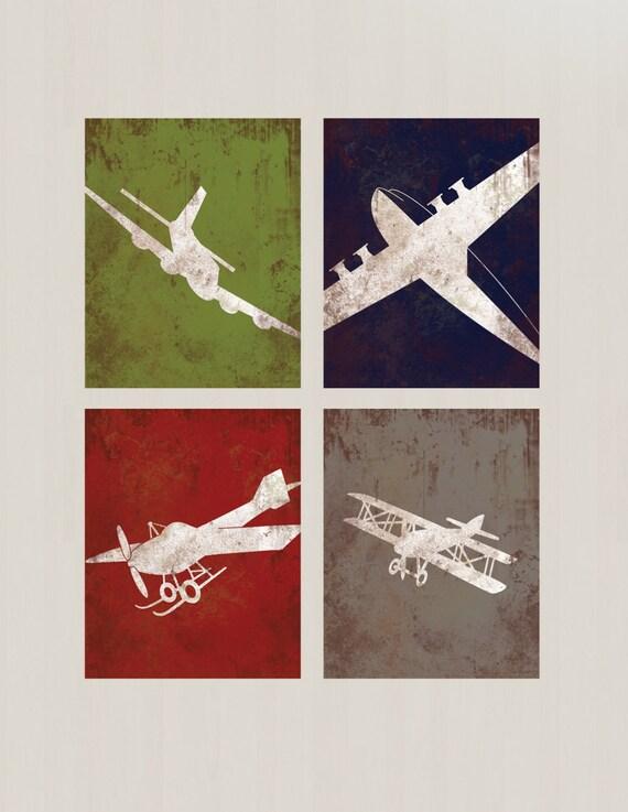 Airplane Bedroom Decor: Vintage Airplane Aviation Print Series Wall Decor