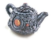 Collectible teapot pewter polymer clay over ceramic