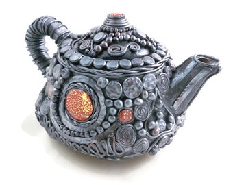 Decorative teapot pewter polymer clay over ceramic