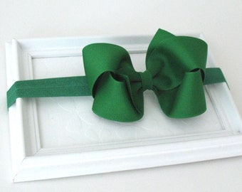 St. Patrick's Day Baby Headband, Emerald Green Hair Bow, Toddler Headband, Green Bow Headband, Large Green Hair Bow, Infant Headband