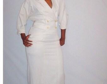 Vintage 1980s Cream Dress Tom D'Auria Plus Size