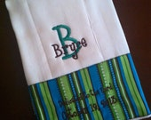 Embroidered Burp Cloth - Baby Boy Personalized Brown Blue Green Stripe Christian