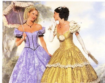 Sz 6/8/10 - Butterick Making History Costume Pattern 6195 - Misses' Antebellum/Southern Belle/Civil War Period Dress