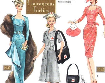 Courageous Forties Doll clothes Pattern - Simplicity 9773 - Doll Clothes for 11 1/2 Inch Dolls - Doll Collectors Club Pattern