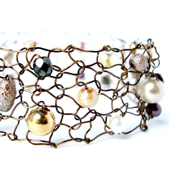 Copper arm cuff Pearl bracelet Fall jewelry Metallic mesh cuff bracelet Chocolate brown pearls Wire knit Autumn jewelry