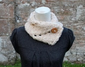 Handknit collar neckwarmer with button closure, natural shade, knitted scarf UK, gift for her