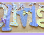 Baby Girl Wooden Letters for Nursery- Lavender Grey and Yellow-Baby Name Decor, Nursery Wall Letters, Girly Nursery Ideas