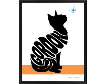 Personalized Cat with Butterfly Silhouette Print, Framed Cat Wall Art, Gift for Cat Lover, Cat Memorial Gift