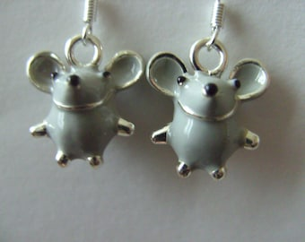 Sweet, tiny, 3d, mouse, mice, earrings, grey, enamel, grey and silver , by NewellsJewels on etsy