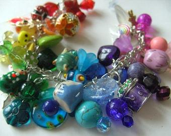 Rainbow, rainbow bracelet, charm bracelet, loaded, locket, owl, mix colour, by NewellsJewels on etsy