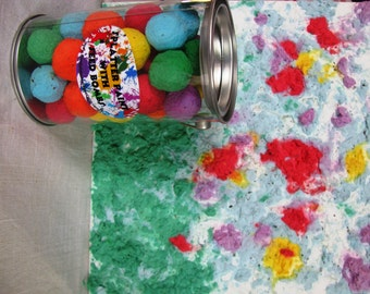 Splatter Paint with colorful Rainbow seed bombs