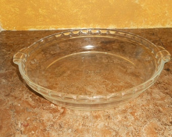 "Vintage Pyrex Clear Glass Pie Plate-9 1/2"" Round"