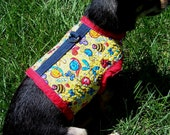 Handmade quilted small pet dog harness vest jacket coat with bugs all over it